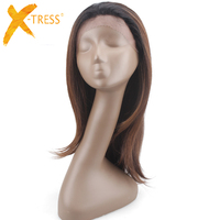 Soft Straight Synthetic Lace Front Wigs With Short Baby Hair X TRESS Ombre Brown Color Trendy Lace Wig Free Part For Black Women