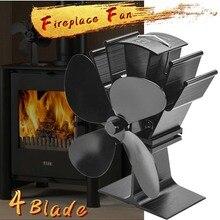 Burner Stove-Fan Komin Heat-Distribution Black Fireplace Wood Heat-Powered 4-Blade Home
