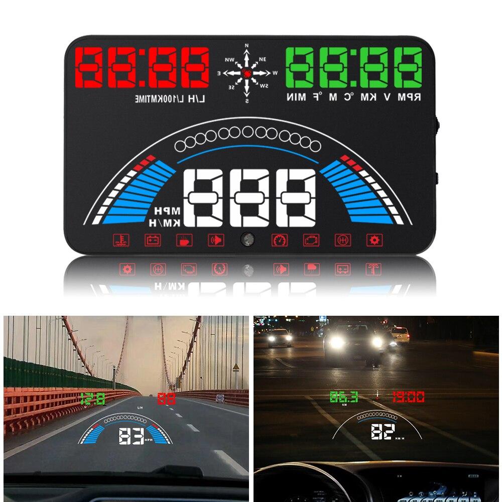 Авто HUD 5,8 ''головой вверх Дисплей автомобиля Скорость проектор OBD2 II EUOBD более Скорость Предупреждение лобовое стекло сигнализации проектор ...