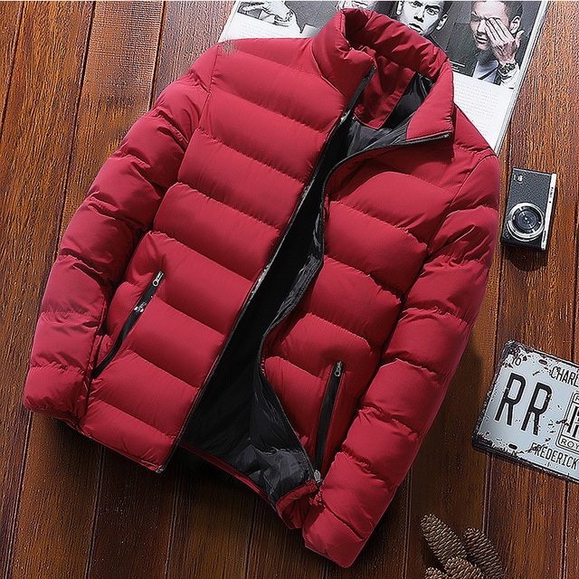 New Warm Thick Men Parka Jackets Winter Casual Mens Outwear Coats Solid Stand Collar Male Windbreak Cotton Padded Down Jacket 3