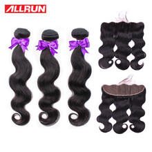Allrun Body Wave Bundles With Frontal with Brazilian Hair Weave Bundles Non Remy Human Hair Bundles With Closure Hair Extensions(China)