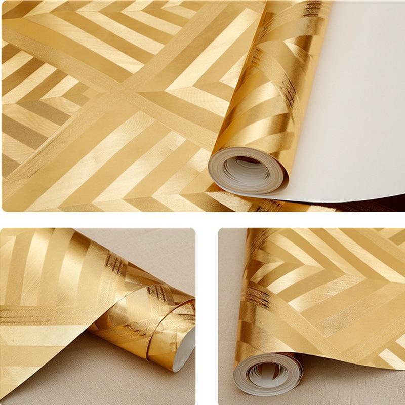Papier peint moderne de vinyle de rouleau de papier peint rouge imperméable de Pvc pour des murs de pièce de Ktv, papier peint de boîte de nuit de feuille d'argent d'or - 5