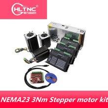 Trasporto libero 3pcs DM542 driver motore Passo a Passo + 3PC NEMA23 3Nm dc motor + 350W di potenza di alimentazione + Mach3 scheda di controllo per CNC