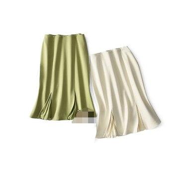 Elegant mermaid hip feminine spell pleated 3-color high waist fishtail skirt Ruffle Fishtail Formal Skirt  A-Line Solid Casual