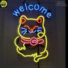 Lámparas de neón con diseño de flamenco para pared, luz de bienvenida con diseño de gato, ideal para fiestas y discotecas