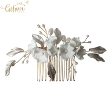 2021 Headpiece Wedding Hair Accessories Ceramic Flower Freshwater Pearl Hair Comb Pin Set