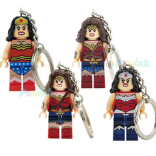 Single Sale Wonder Woman Figure Keychain Diana Prince DIY Ring Key Chain DC Super Hero Building Block Models Bricks Toys Legoing new dc wonder woman super hero girl high school model building block brick toy 41232 wonder woman compatible legoes gift kid set
