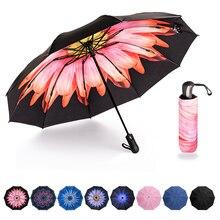 عكس مظلة أوتوماتيكية قابلة للطي مقلوب داخل خارج الشمس المطر النساء مظلة 10 الأضلاع قوية يندبروف المرأة المظلات