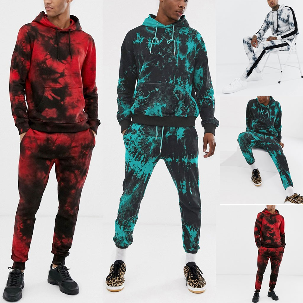 Mens Sport Suit Zipper Tracksuit 2019 Autumn Tie Dyeing Print Sweatshirt Top Pants Sets Hip Pop Cool Streetwear