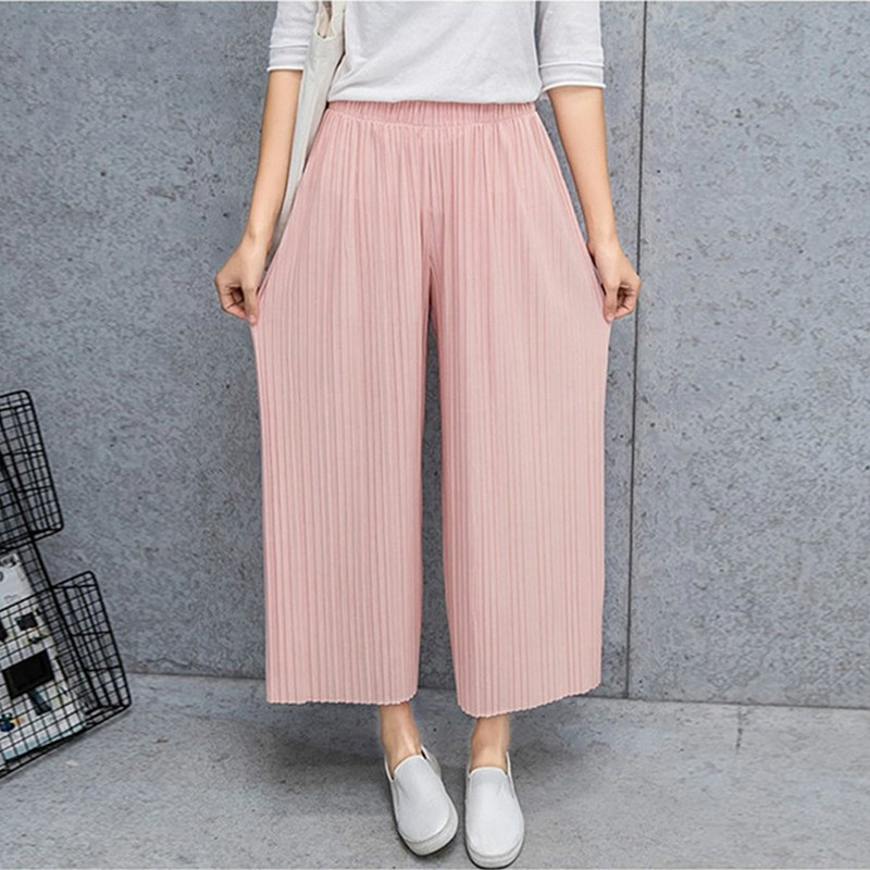PADEGAO Fold Pleated Palazzo Pants Women Bottoms 2018 Female Casual Pants Mid Waist Wide Leg Pants For Women PDG595