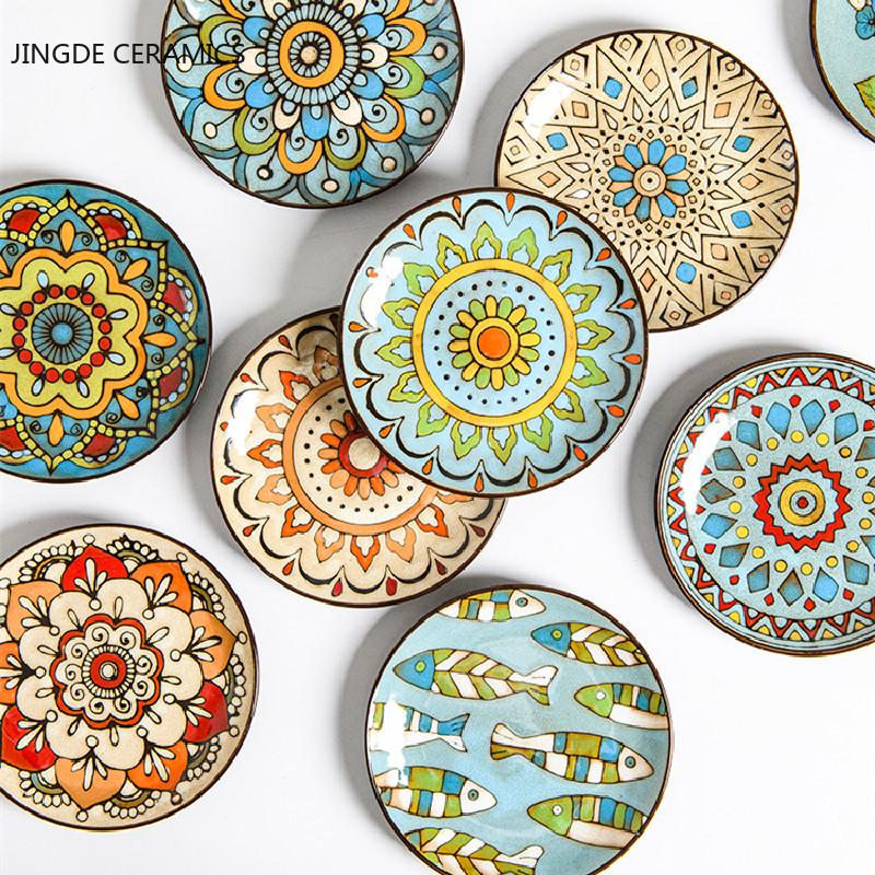 Creative hand-painted ceramic plate round plate dish home Western steak salad dessert cake sushi home decoration hanging plate
