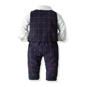 Image 3 - Kids Boys Formal Suits Blazers Sets 4Pcs Clear Gentleman Kids Baby Boys Suit Tops Shirt Waistcoat Tie Pant 4PCS Set Clothes