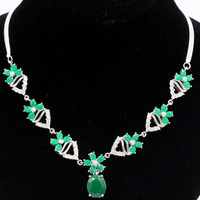 22x11mm Classic Real Green Emerald CZ Ladies Wedding Silver Necklace 18.0 18.5in