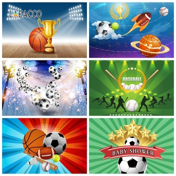 Laeacco Football Basketball Baseball Soccer Sportman Photography Backdrops Baby Shower Photo Backgrounds Birthday Photophone image