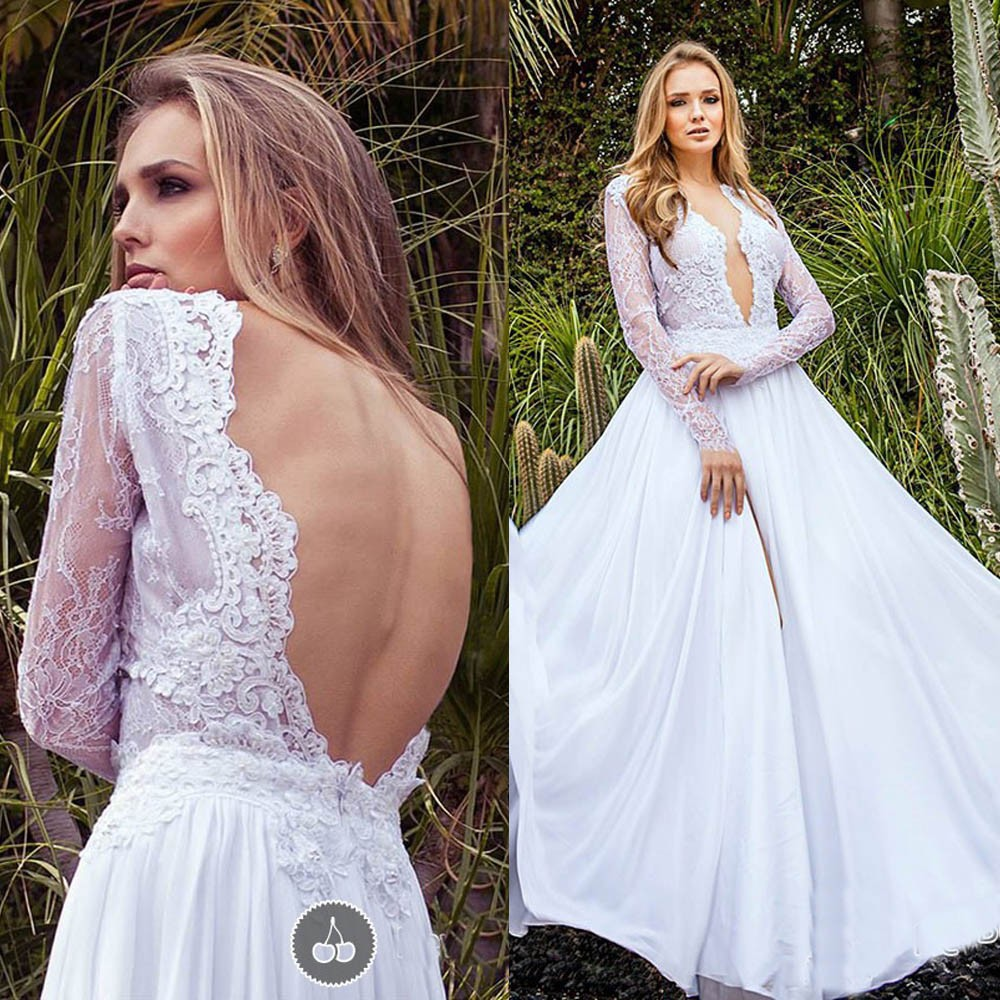 2019 Country Style Lace Backless Wedding Dresses Deep V Neck Long Sleeves Bridal Gowns Chiffon Vestido De Noiva Wedding Dress