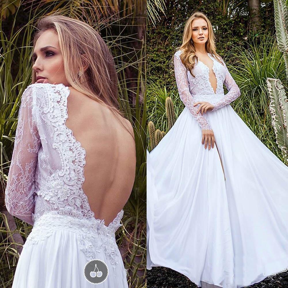 2019 Country Style Lace Backless Wedding Dresses Deep V Neck Long Sleeves Bridal Gowns Chiffon Vestido De Noiva Wedding Dress
