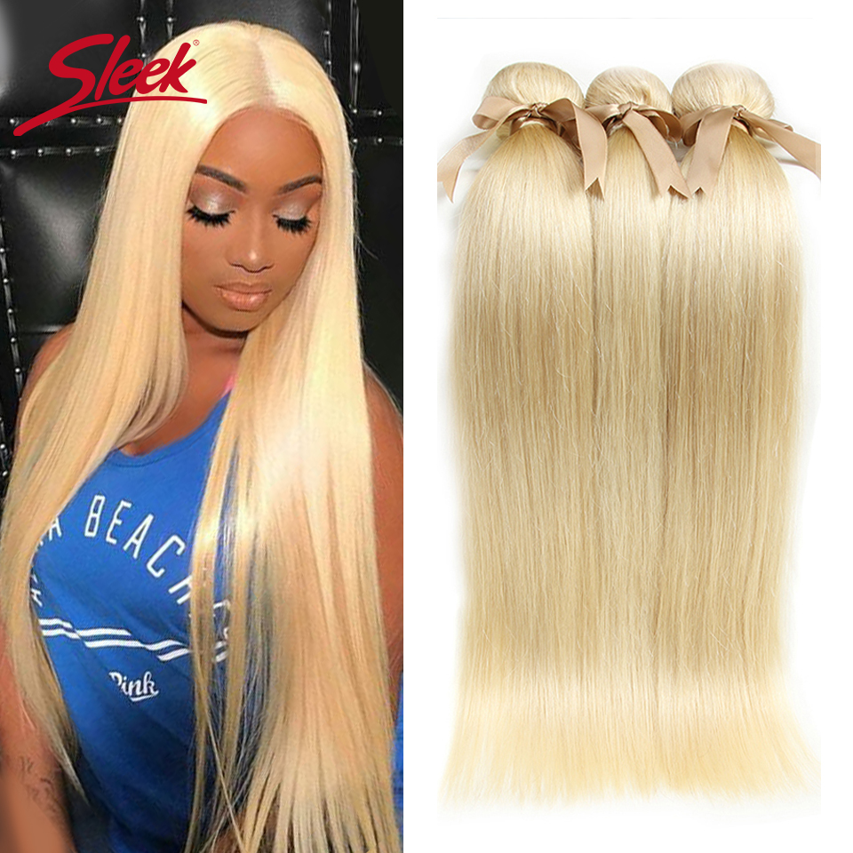 Sleek 613 Honey Blonde Bundles Straight <font><b>Hair</b></font> Peruvian <font><b>Hair</b></font> Weave Bundles 100% Straight Remy <font><b>Hair</b></font> Extensions <font><b>10</b></font> to 26 Inches image