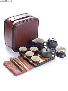 Image 5 - Японский черный керамический чайный набор кунг фу, портативный дорожный чайный набор, набор из 13 предметов, один чайник из четырех чашек быстрой чашки для пассажиров