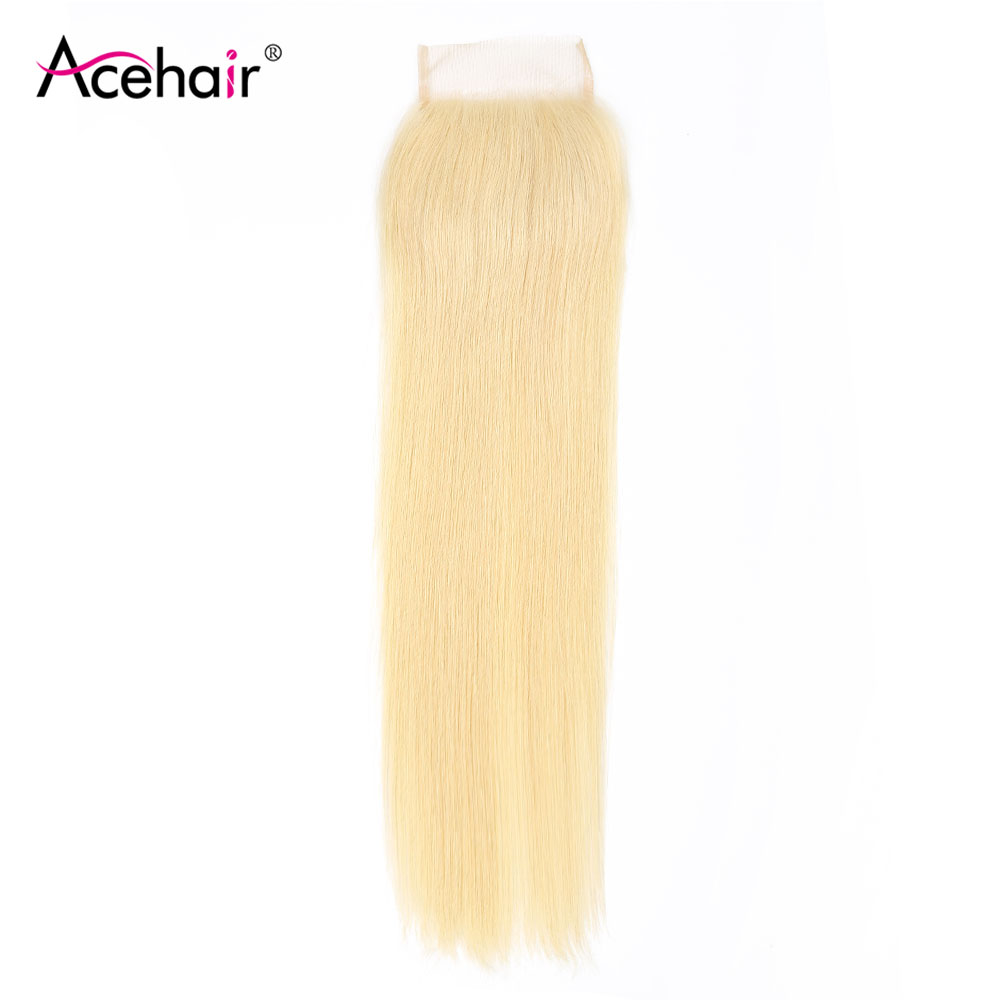 Ace Hair 4x4 Brazilian Straight Lace Closure Blonde 613 Color Top Human Hair Closure Bleached Knots Free/Middle/Three Part image