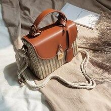 Mode rattan frauen schulter taschen designer handtaschen luxus wicker woven umhängetasche sommer strand stroh tasche dame kleine geldbörsen