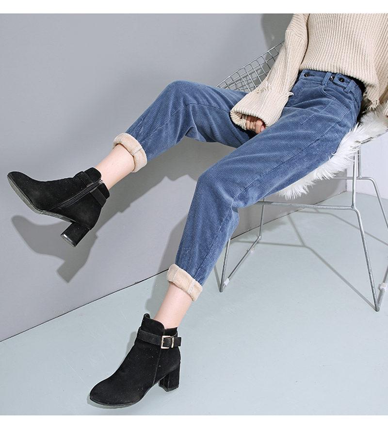 Autumn Winter High Waist Corduroy Harem Pants Women Plus Size Loose Black Pants Women Long Plus Velvet Trousers Sweatpants C5803 35