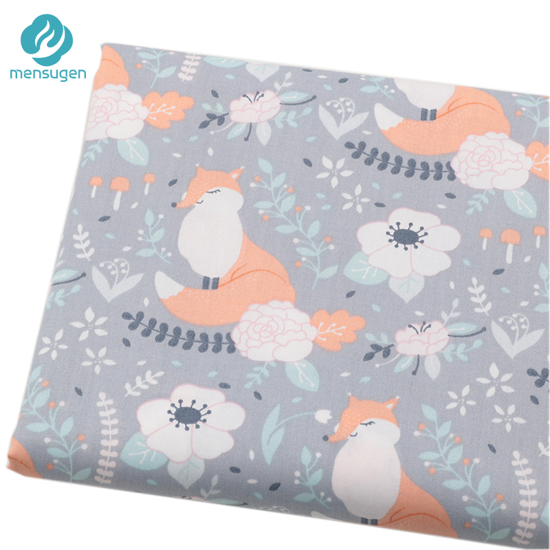 Fox bunny on beige 100/% COTTON FABRIC //METER //160cm WIDE PRINTED