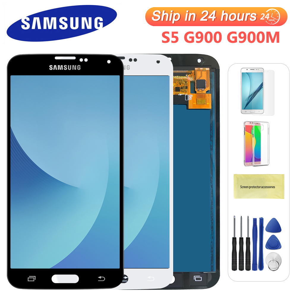 100% Test Lcd for Samsung Galaxy 4G S5 i9600 G900 G900M G900F Lcd Display Touch Screen Digitizer Assembly (not compatible G900H)(China)