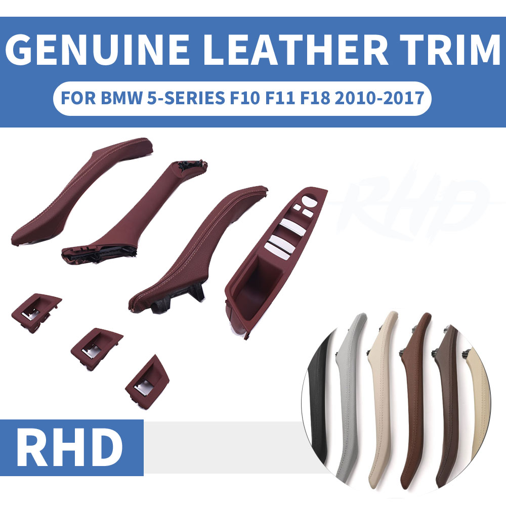 Couro De luxo do Lado Direito da Unidade RHD Para BMW série 5 F10 F11 520 Interior Maçaneta Da Porta Interior Do Carro Vinho Tinto painel Puxar Tampa da Guarnição