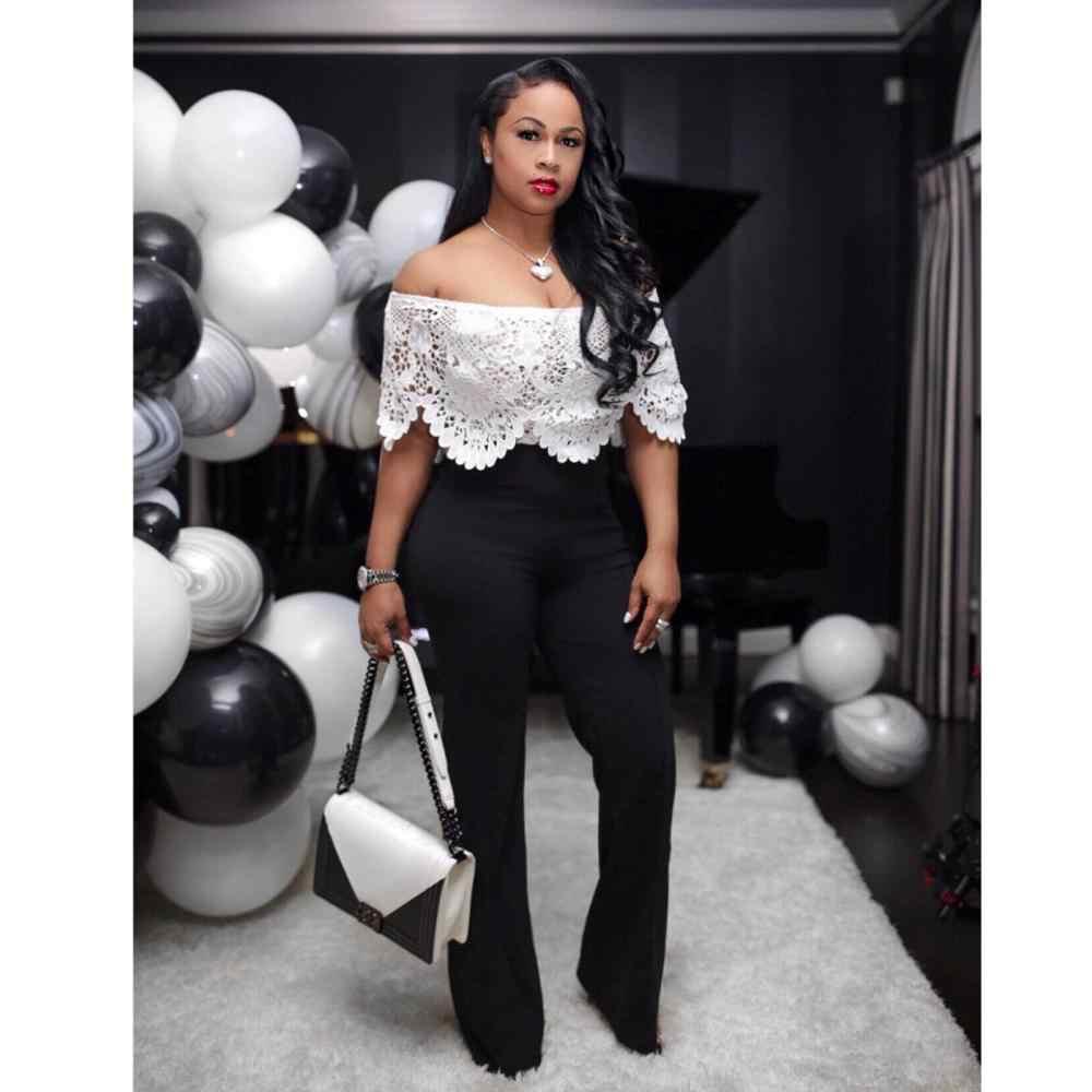 Adogirl ถักโครเชต์ Hollow OUT Off Shoulder Jumpsuit เซ็กซี่คอ Slash คอสีขาวด้านบนสีดำกางเกงขากว้างผู้หญิง Romper โดยรวม