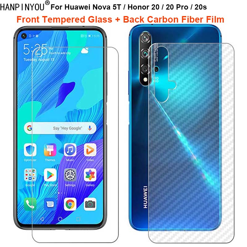 For Huawei Nova 5T Honor 20 Pro 20s 1 Set = Back Carbon Fiber Film Sticker + Premium Tempered Glass Front Screen Protector