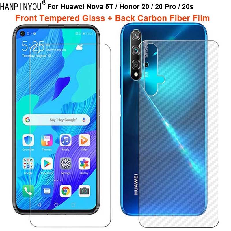 For Huawei Nova 5T Honor 20 Pro 20s 1 Set = Back Carbon Fiber Film Sticker + Premium Tempered Glass Front Screen Protector