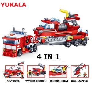 Image 2 - YUKALA  348pcs Fire Fighting Car Helicopter Boat Model Building Blocks City Firefighter Figures Trucks Bricks Childre