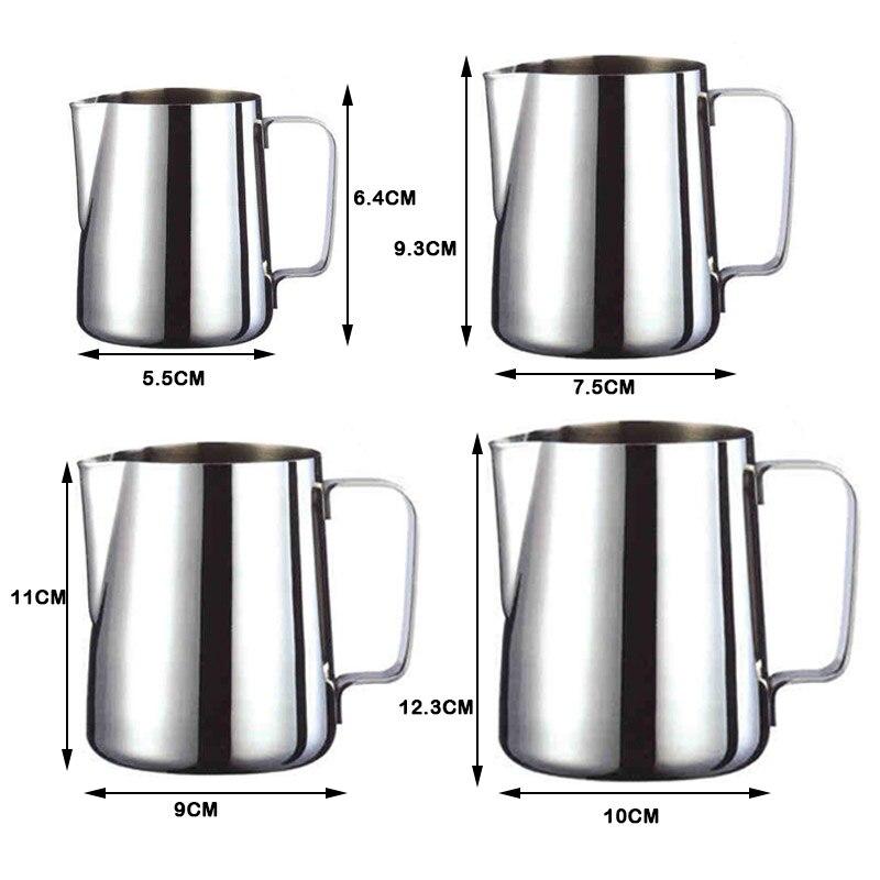 Handheld Stainless Steel Milk Frothing Jug Espresso Coffee Pitcher Barista Craft Coffee Latte Milk Frothing Jug Pitcher 2020 New 6