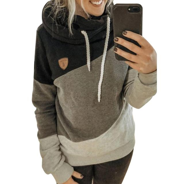 Autumn Winter  Women Cowl Neck Color Block Patchwork Fall Hoodie Sweatshirt Long Sleeve Pullover Casual Warm Hooded Tops 5XL 3