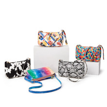 Bag Female  Summer Hit Color Rainbow Print Simple Underarm Bag Single Shoulder Diagonal Bag Adjustable Shoulder Strap Mini Bag
