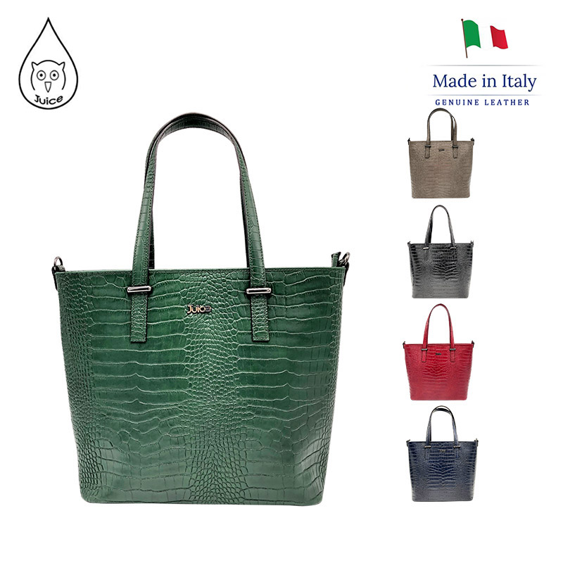 JUICE ,made In Italy, Genuine Leather, Ladies Handbag With Croc-print ,112179