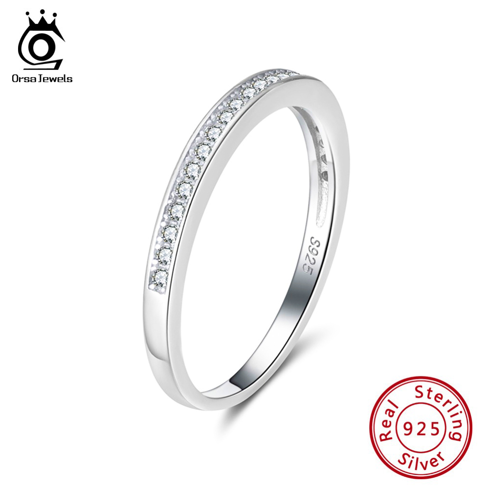 ORSA JEWELS Genuine 925 Female Eternity Rings Sterling Silver Clear Zircon Women Wedding Ring Valentine Present Jewelry SR136