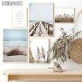 Скандинавский язычковый пейзаж, пляжный плакат, принт в скандинавском стиле, настенная живопись на холсте, Современное украшение для дома