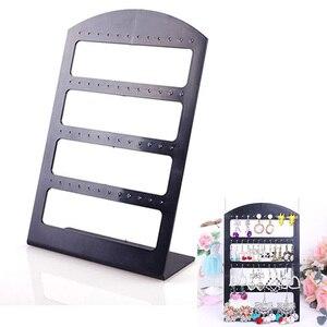 1pc Portable 48 Holes Earrings Ear Studs Display Organizer Stand Black Plastic Earrings Holder Showcase Jewelry Organizer Box