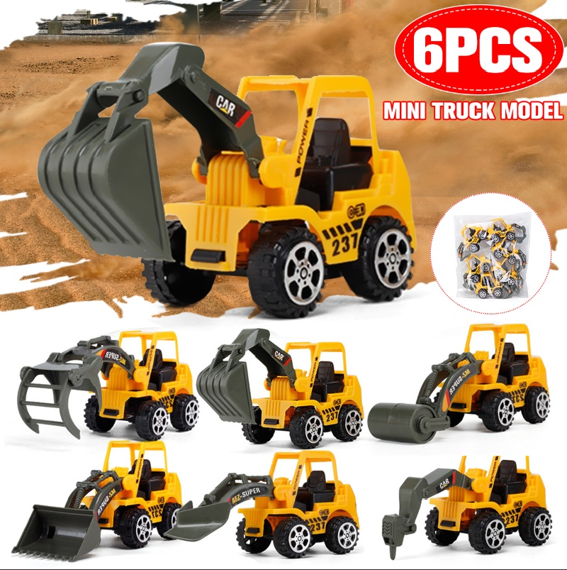 6 PCS Set Kids Boys Vehicle Truck Model Toys Engineering Construction Toy Gift Christmas New Year Bulldozer Tractor Excavator Do