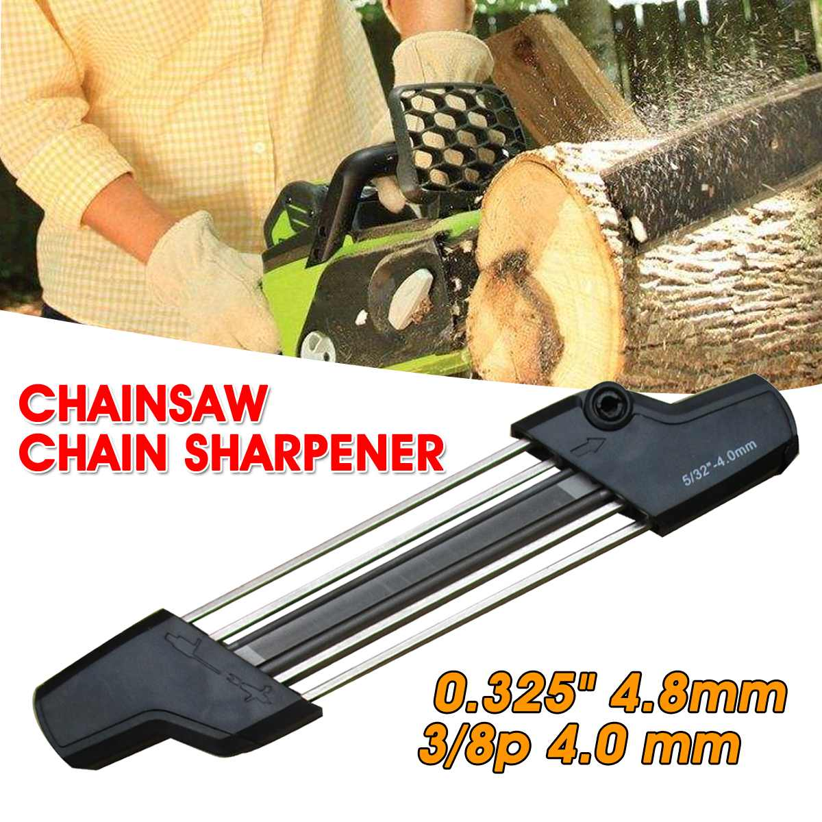 2 IN 1 Chainsaw Chain Easy File Sharpener 3/8 5.2mm 13/64 & 325 4.8mm 3/16 & 4.0mm Models Chain Whetstone Grinding Power Tools