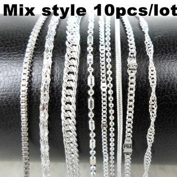 10 teile/los Mix Stil Silber Farbe Kette Halskette Metall Link Dünnen Ketten Männer Frauen Halsketten Choker Schmuck Zubehör Großhandel