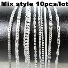 10pcs/lot Mix Style Silver Color Chain Necklace Metal Link Thin Chains Men Women Necklaces Choker Jewelry Accessories Wholesale