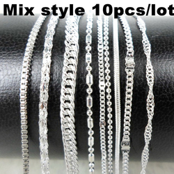 10pcs/lot Mix Style Silver Color Chain Necklace Metal Link Thin Chains Men Women Necklaces Choker Jewelry Accessories Wholesale