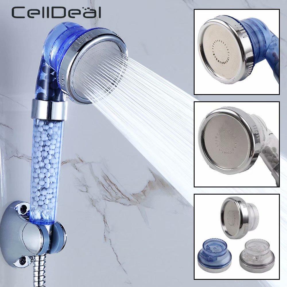 CellDeal High Turbo Pressure Shower Head 3 Mode Filtered Lonic Stone Stream Handheld Showerheads Ceramic Balls Water Saving