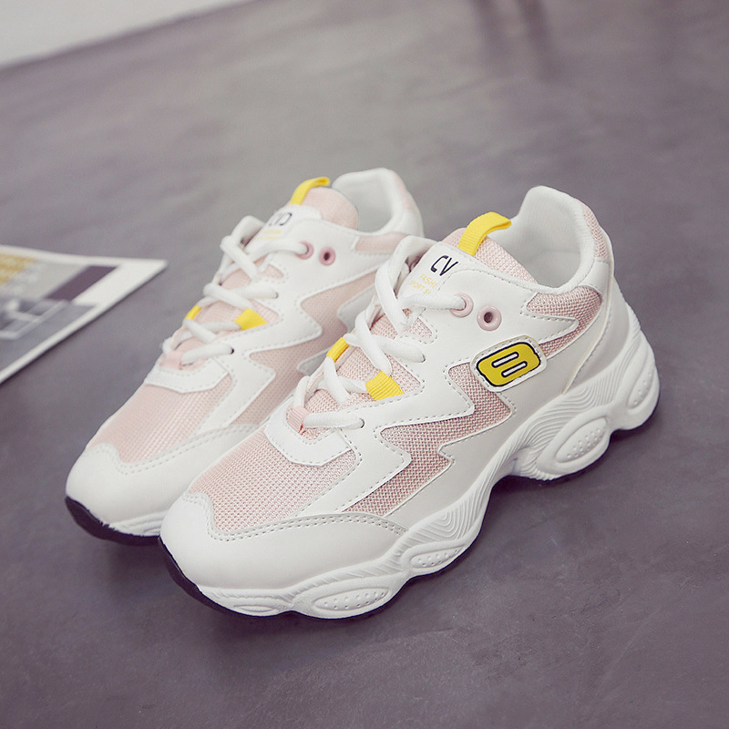 Summer Mesh Breathable Running Shoes For Women INS Harajuku Ulzzang Fashion Height Increasing Cushioning Fitness Sports Shoes