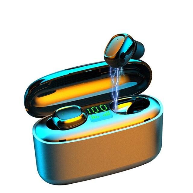 KUGE Wireless Earphone Bluetooth V5.0 F9 TWS Wireless Bluetooth Headphone LED Display With 2000mAh Power Headset With Microphone 3