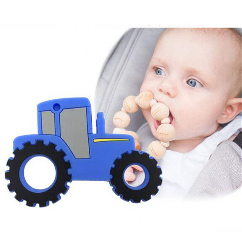 Baby Teether Kids DIY Car Shaped Chew Necklace Nursing Tool Infant Teether Caring Gift Silicone Teething Toy