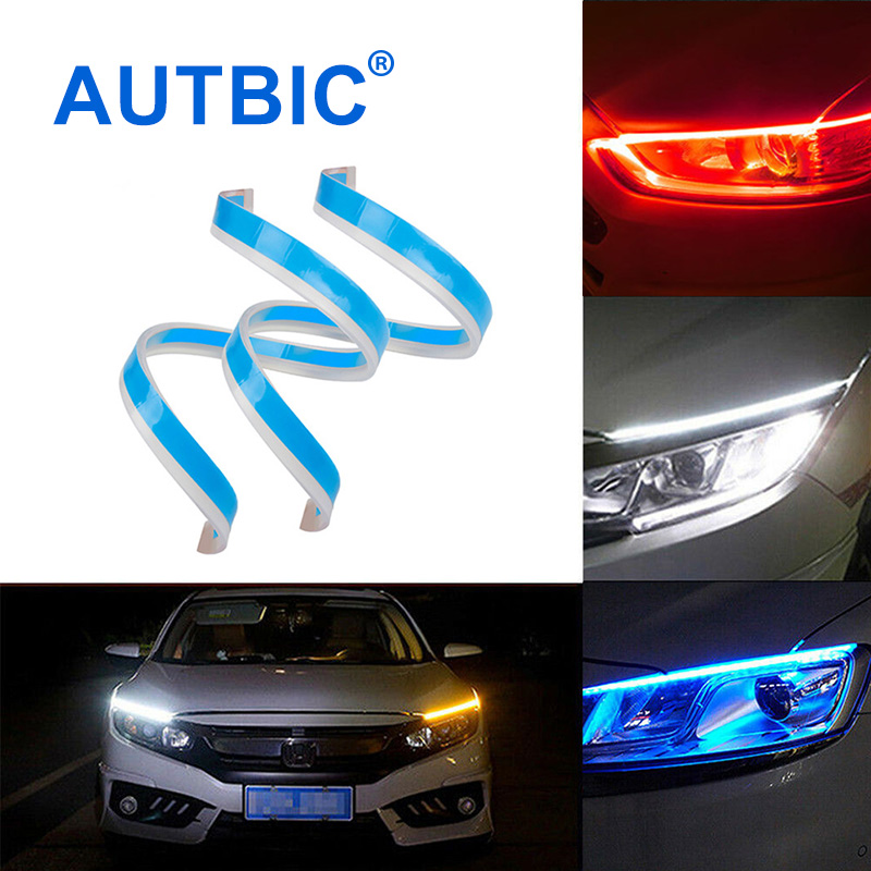 AUTBIC DRL LED Daytime Running Lights 12V Auto Lamps For Cars Turn Signal Guide Strip Headlight Assembly Car Styling <font><b>Accessories</b></font> image
