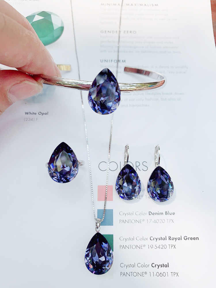 11.11 แฟชั่น tear DROP Design ชุดเครื่องประดับสำหรับจี้ต่างหูแหวนกำไลข้อมือชุดทำจากออสเตรียคริสตัล Bijoux ของขวัญ